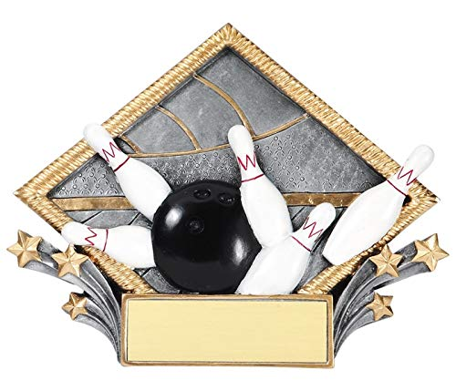 Express Medals 7.5 x 6 Inch Diamond Bowling Plaque Trophy Award with Engraved Personalized 3-Pack (Trophy Resin Diamond)