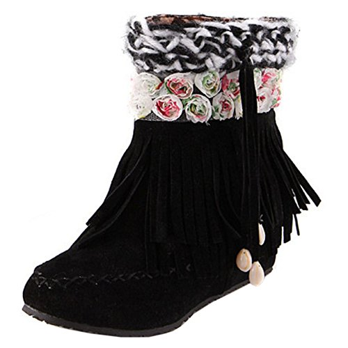 Fringe Black Height Boots Increasing KemeKiss Wedges Comfort Heel Girls Low qB7zxF0w