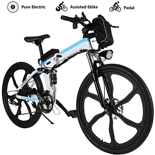 Yiilove Electric Mountain Bike 26'' Wheel Ebike 36V Lithium-Ion Battery, Electric Bicycle 250W Powerful Motor, Shimano 21 Speed (Type2-26-Foldable-White)