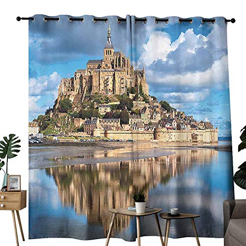 (Medieval Decor Collection Bedroom Balcony Living Room Curtain French Castle on The Sea Fairy Photo of Renaissance Historical Cultural Heritage Noise Reducing W120 x L96 Blue Cream White)