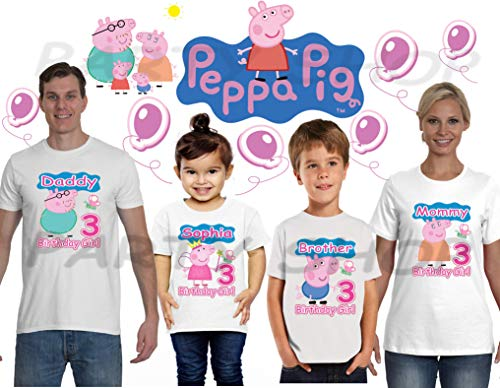 PEPPA PIG BIRTHDAY SHIRTS, T-SHIRT Peppa Pig ADA Birthday Party,ADD any name and age FAMILY Matching Shirts, Girls Birthday Shirts,Peppa Pig Birthday Shirt, Ada#1]()
