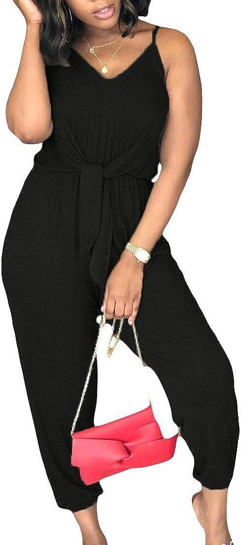 WSPLYSPJY Women Summer V Neck Spaghetti Strap Front Tie Solid Pants Jumpsuit