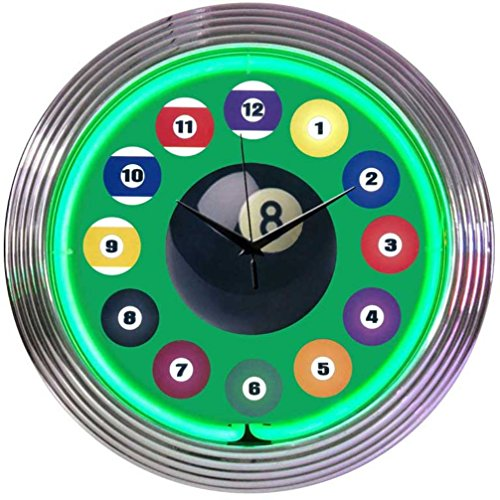 Neonetics Billiard Ball Green Neon Clock