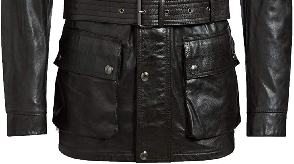 GetYouStyle Military Style Black Mens Genuine Leather Jacket Big and Tall