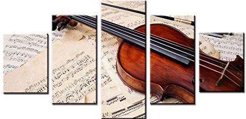 Wowdecor Canvas Prints 5 Pieces Multiple Pictures Wall Art - 5 Panels Musical Instruments Violin Giclee Pictures Painting Printed on Canvas, Posters Wall Decor Gift - UNFRAMED (Small)