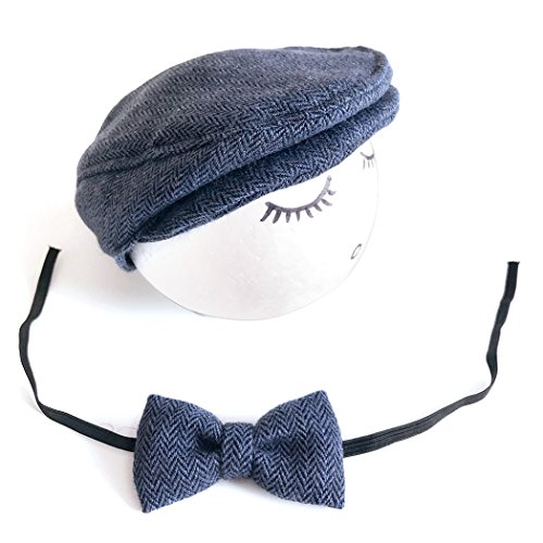 Baby Photo Prop, Fascigirl Baby Flat Hat Fashion Beret Hat Driver Cap with Bow Tie
