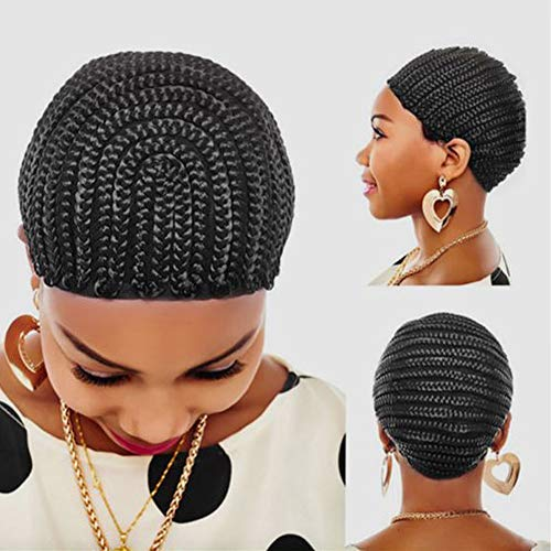 (FASHION LADY 1 PC Braided Cap Crochet Braided Wig Caps, Cornrows Cap for Easier Sew in Hair Weave Black Color Braiding Wig Weaving Caps with Braids for Making)