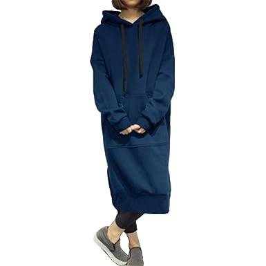 meilleur service a0d50 8fd16 Femmes Longue Encapuchonné Sweatshirt Robe Longue Manche ...