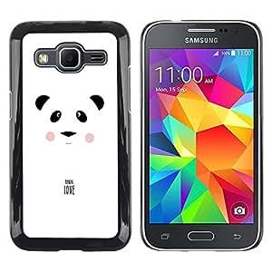 FECELL CITY // Duro Aluminio Pegatina PC Caso decorativo Funda Carcasa de Protección para Samsung Galaxy Core Prime SM-G360 // Panda Love Minimalist White Black Text