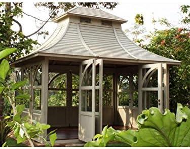 Jardín Hogar Queen House Gazebo caoba madera hogar Caseta bloque casa Mint: Amazon.es: Jardín