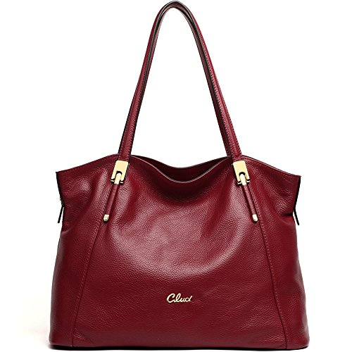 Cluci Genuine Leather Handbags Top-handle Tote Purse Designer Shoulder Bag for Women