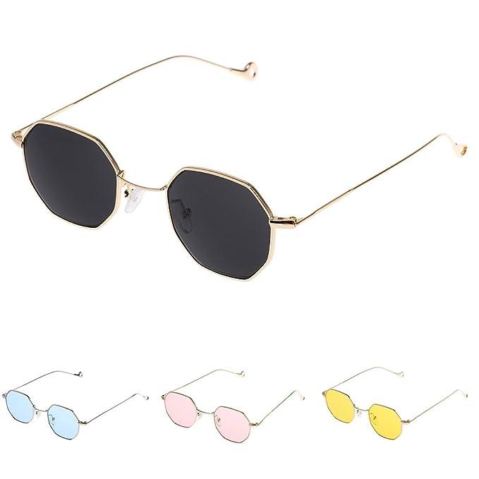 a6f3b28541 MagiDeal 4pc Retro Mirrored Designer Octagon Sunglasses Flat Lens Eye Glasses  Eyewear  Amazon.co.uk  Clothing
