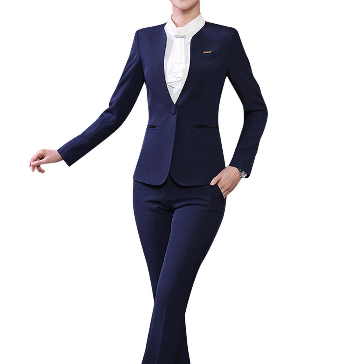 Women's 2 Piece Office Lady Business Suit Set Slim Fit Blazer Pant by YUNCLOS