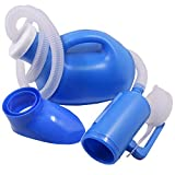 YUMSUM Unisex Female or Male Bed Urinal Universal Potty Pee Bottle Collector Travel Toilet 1000ML with Lid and Drain Hose(S Female Blue)
