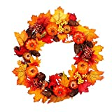 Halloween Christmas Decoration Hand-Made Rattan Wreath Pumpkin Berry Maple Leaf Fall Door Wreath Door Wall Ornament for Home Church Party Wedding Decoration 17.7Inch