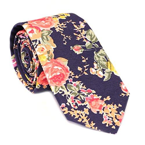 Blooms Floral (DAZI Men's Skinny Tie Floral Print Cotton Necktie, Great for Weddings, Groom, Groomsmen, Missions, Dances, Gifts. (Midnight Bloom))