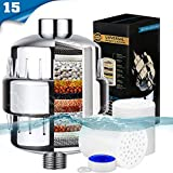RUN HELIX Shower Filter for Hard Water 2 Pack 15-Stages Replaceable Cartridge Handheld Universal Vitamin C Shower Head Water Filter-Water Purifier Softener to Remove Chlorine, Fluoride and Rust Metal