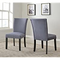 US Pride Furniture Sally Collection Classic Fabric Upholstered Dining Room Armless Accent Chair, Set of 2 Gray