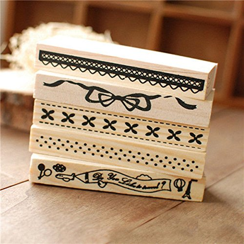 [Vintage Border Lace Wooden Rubber Stamp Scrapbook Craft Wedding Party Decor(Random: Pattern)] (Homemade Reindeer Costumes For Kids)