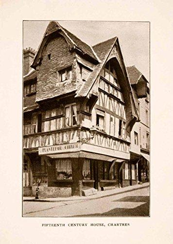Chartres House (1905 Halftone Print Chartres 15th Century France Historic Landmark Street View - Original Halftone Print)