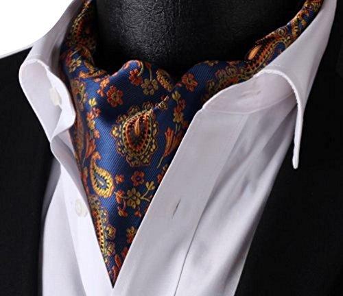 Krralinlin Mens 100% Silk Floral Jacquard Woven Casual Cravat Ties Ascot