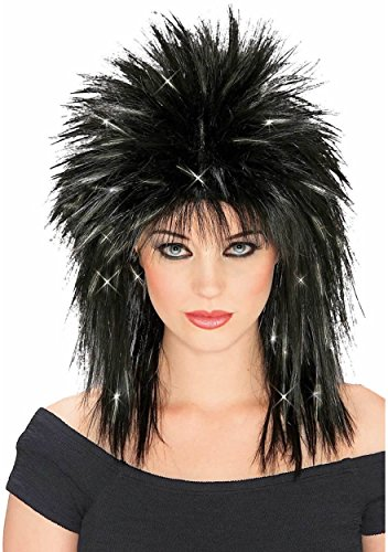 80's Business Woman Costume (Rubie's Costume Rockin Diva Wig with Tinsel, Black/Silver, One Size)