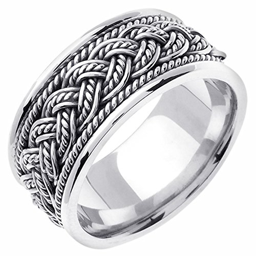 10mm 14K White Gold Braided Rope Comfort Fit Wedding Band Available Size (5 to 14) Size 11 White Gold Braided Wedding Band