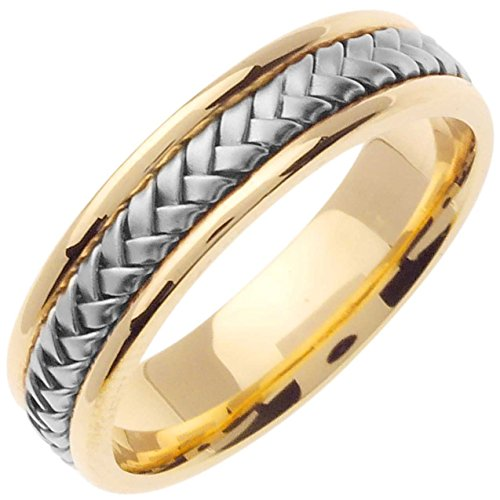 Two Tone Platinum and 18K Yellow Gold Braided Basket Weave Men's Wedding Band (5.5mm) Size-14c2