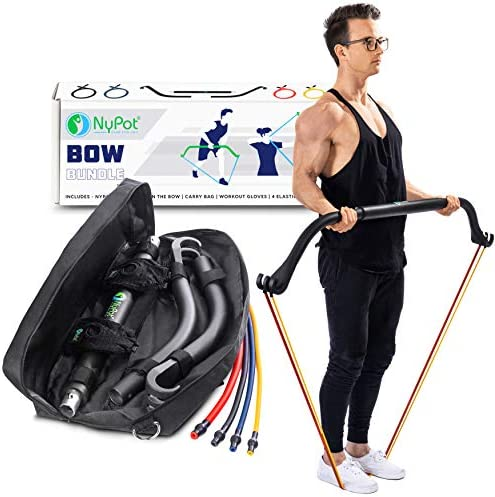 NYPOT Bow Portable Home Gym – Resistance Bands Workout Kit – Fitness Equipment Set – 4 Resistance Bands – Full Body Training Kit – Weightlifting & Exercise Kit for Men & Women – Bar System for Travel