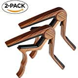 Guitar Capo, 2 Pack Capo for Acoustic and Electric Guitar 6 String, Ukulele Capo Tenor, Concert,Soprano, Baritone Wooden Color