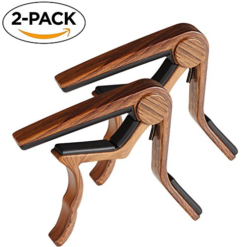 Guitar Capo, 2 Pack Capo for Acoustic and Electric Guitar 6 String, Ukulele Capo Tenor, Concert,Soprano, Baritone Wooden Color (Guitar Acoustic Concert)