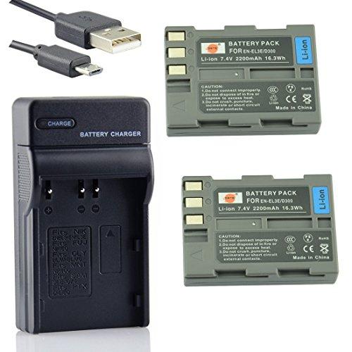 DSTE EN-EL3E Li-Ion Batería (2 Paquetes) Traje y Cargador Micro USB para Nikon D30 D50 D70 D70S D90 D80 D100 D200 D300 D300S...