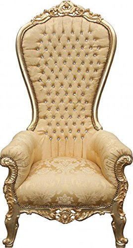 Casa Padrino Barock Thron Sessel Majestic Mod2 Gold Muster / Gold mit Bling Bling Glitzersteinen - Riesensessel -Thron Stuhl Tron