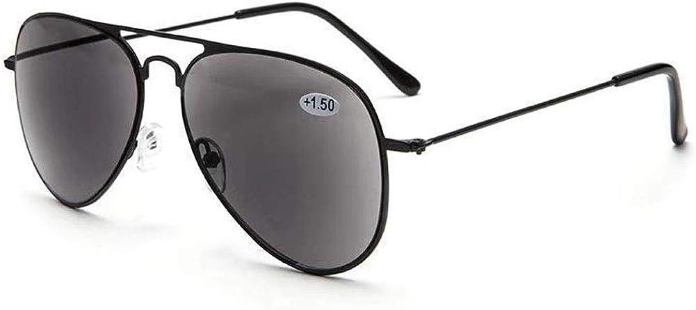 VEVESMUNDO Gafas Sol de Lectura Presbicia Aviador Proteccion UV Grande Marco de Metal y Bisagras con Funda para al aire libre Anteojos de Leer Graduadas
