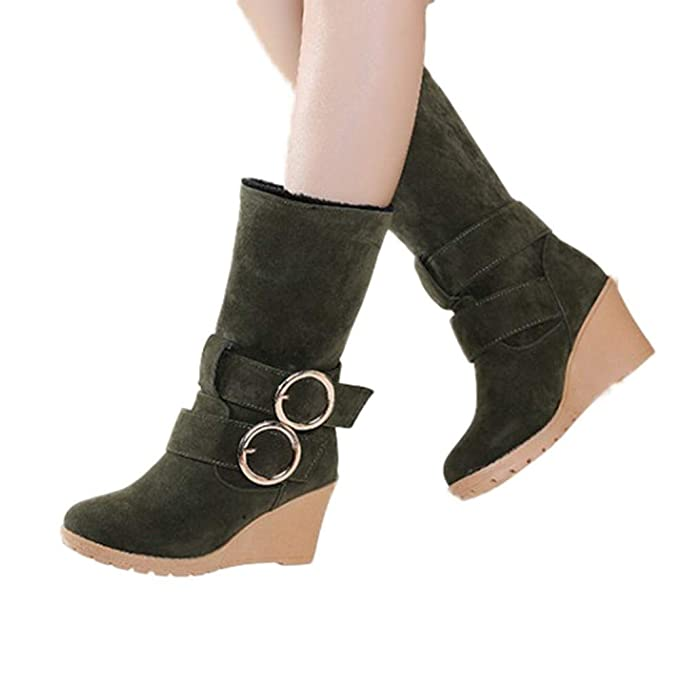 0e5bc01f3389 Amazon.com  Women s Buckle Mid-Calf Boots - Casual Slip-On Wedges High Heels  Long Boots Winter Warm Faux Fur Lined Snow Boots  Clothing