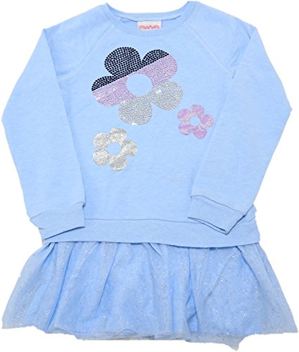 - Flapdoodles Girls Size 7/8 Floral Long Pullover Sweater, Blue