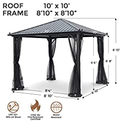 Garden and Outdoor AsterOutdoor 10×10 Outdoor Hardtop Gazebo for Patios Galvanized Steel Canopy for Shade and Rain with Mosquito Netting… pergolas