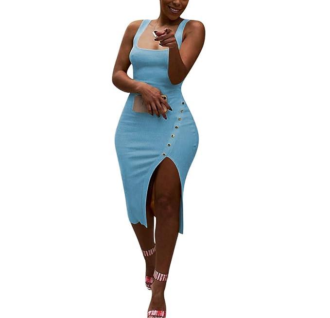 Amazon.com: Vestido corto de mujer con tirantes sin mangas ...