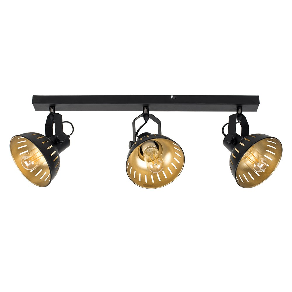 Industrial Steampunk Style Black and Gold 3 Way Adjustable Ceiling Spotlight MiniSun