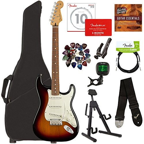 Stratocaster 3 Colour - Fender Player Stratocaster, Pau Ferro - 3-Color Sunburst Bundle with Gig Bag, Stand, Cable, Tuner, Strap, Strings, Picks, Capo, Fender Play Online Lessons, and Austin Bazaar Instructional DVD