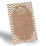 Baby : 60-Pack Gender Neutral Baby Prediction Cards for Gender Reveal Party, Rustic Baby Prediction and Advice Card for New Parents, Fun Gender-Neutral Prediction Cards for Baby Shower