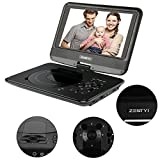 Portable DVD Player for Cars, ZESTYI 9'' Personal DVD Player for Kids, Teens & Seniors with 3 Hours Rechargeable Battery, Car Charger, SD Card Slot, USB Port & Swivel Screen (Black)