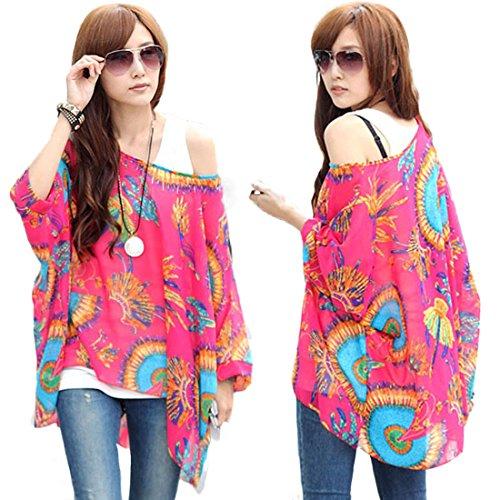 Womens 70s Clothing - HP95(TM) Women's Bohemian Style Batwing Sleeve Chiffon Beach Loose Shirt (N)