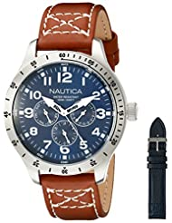 Nautica Men's NAD15009G BFD 101 Multi Box Set Analog Display Japanese Quartz Brown Watch