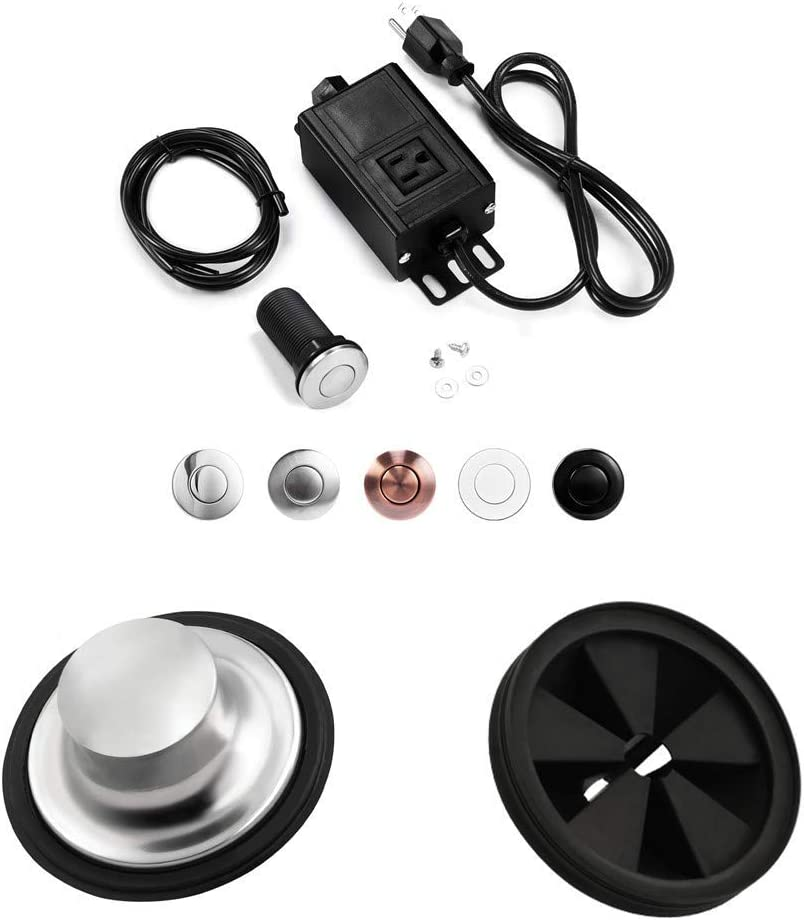 Garbage Disposal Air Switch Kit with Long Brushed Button,Splash Guard Collar Sink Baffle,Kitchen Sink Stopper Group,3 3/8 inch
