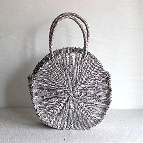 228467b1d1c7 BoBoSaLa Gold Silver Handmade Bag Rattan Woven Round Handbag Vintage Retro  Straw Knitted Lady Handbag Summer Beach Tote Circle Bag silver