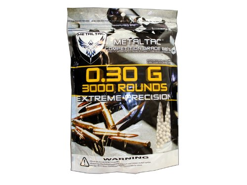 MetalTac Airsoft BBs Bag of 3,000 0.3g 6mm BBs Pellet Sniper Round for Airsoft Gun (Best Airsoft Bbs To Use)