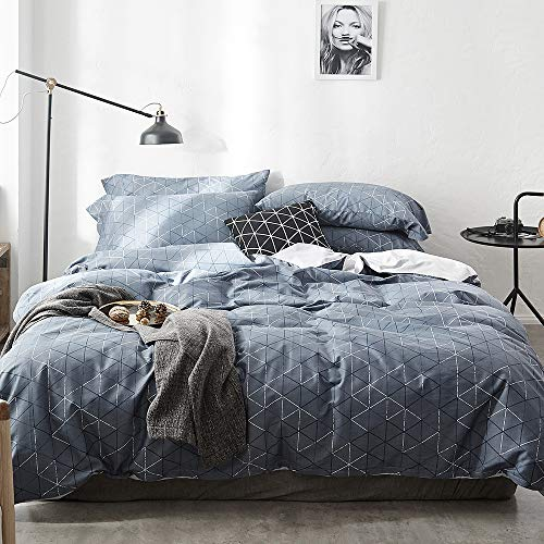 VM VOUGEMARKET 3 Pieces Duvet Cover Set Queen,Geometric Blue Duvet Cover with 2 Pillowcases,Modern Stylish Bedding Set Home Collection for Adults Men Teens (Queen,Neil) ()
