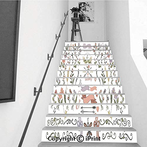 baihemiya stickers 13Pcs Stair Sticker Decals 3D Creative Building Stair Risers Tiles Wallpaper Mural Self-Adhesive,Colored Doodles Borders Ribbons Floral Decor Element eps