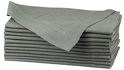 Pure Linen Oversized Napkins 12 Pack - Pure Linen Hemstitch Napkins - (Set of 12) Size 20x20 Charcoal - Hand Crafted and Hand Stitched Napkins with Hemstitch detailing on Genuine Linen Fabric -